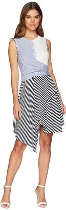 Catherine Malandrino Franka Sleeveless Multi Stripe Twist Front Dress Women's Dress