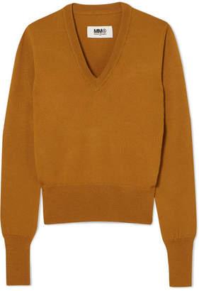 MM6 MAISON MARGIELA Vinyl-trimmed Wool Sweater - Mustard