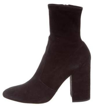 Valentino Suede Round-Toe Ankle Boots
