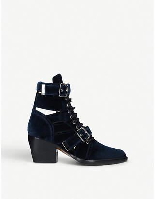 Chloé Rylee buckled velvet boots