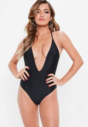 Missguided Black Skinny Strap Plunge Swimsuit