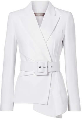 Michael Kors Collection - Belted Asymmetric Crepe Blazer - White