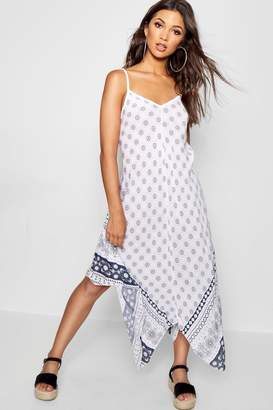 boohoo Border Print Hanky Hem Maxi Dress