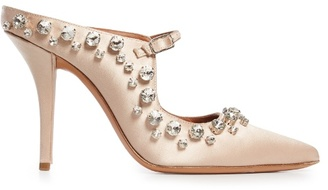 Givenchy Crystal-embellished point-toe satin mules
