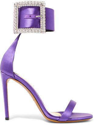 Alexandre Vauthier Yasmin Swarovski Crystal-embellished Satin Sandals - Purple