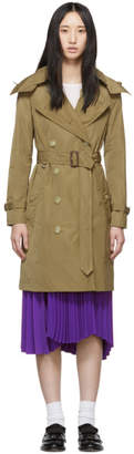 Burberry Tan Kensington Hooded Trench Coat