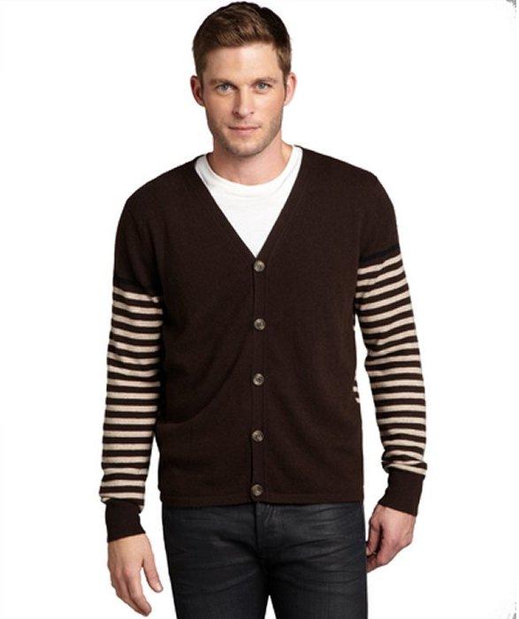 Harrison dark brown stripe cashmere button front cardigan