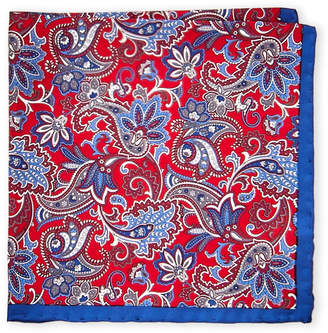 Piattelli Bruno Red Floral Paisley Silk Pocket Square