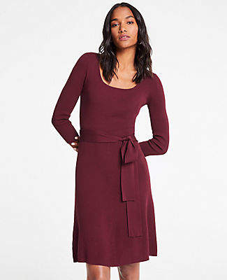 Ann Taylor Tall Belted Sweater Dress