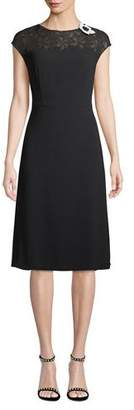 Escada Cap-Sleeve Lace-Neck A-Line Crepe Dress
