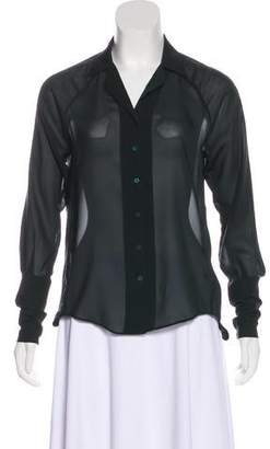 Theyskens' Theory Sheer Button Up Top