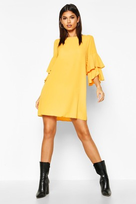 boohoo Vivv Volume Sleeve Woven Shift Dress