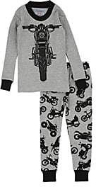 Sara's Prints INFANTS' MOTORCYCLE-PRINT COTTON-BLEND PAJAMA SET - GRAY SIZE 18 M
