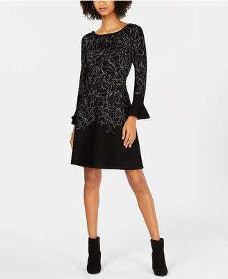 Taylor Metallic-Sketch Bell-Sleeve Sweater Dress