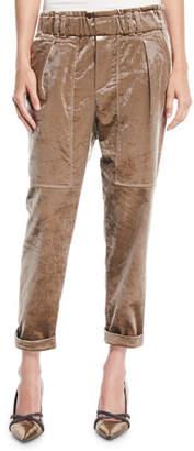 Brunello Cucinelli Velvet Straight-Leg Pull-On Utility Pants