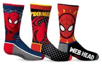 Spiderman SPORTICUS Marvel Comics Boy's Web Head 3-Pack Crew Socks (6-8)
