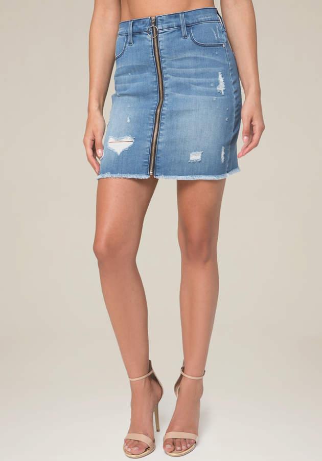 Zip Front Denim Miniskirt