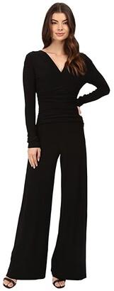 Norma Kamali KAMALIKULTURE by V-Neck Long Sleeve Shirred Waist Jumpsuit