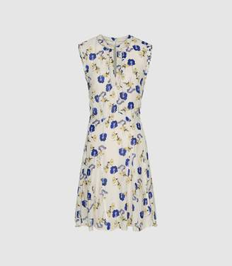 Reiss Mika - Floral Printed Day Dress in Blue/white
