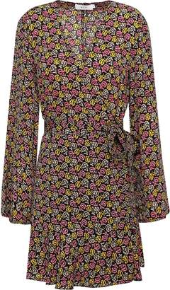 A.L.C. Printed Silk-crepe Mini Wrap Dress