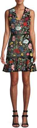 Alice + Olivia Peyton V-Neck Sleeveless Floral-Embroidered Velvet Day Dress