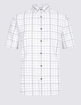 Marks and Spencer Modal Blend Checked Shirt with Pocket