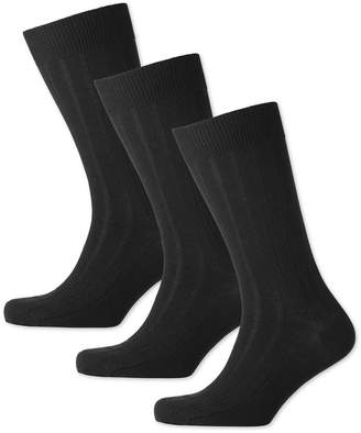 Charles Tyrwhitt Black Wool Rich 3 Pack Socks Size Large