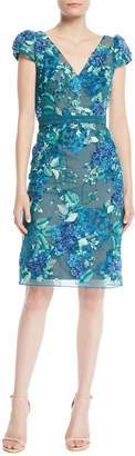 Marchesa 3D Floral Embroidered Cap-Sleeve Dress