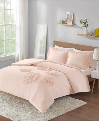 Intelligent Design Ella Twin/Twin Xl Solid Ruffle Floral 2 Piece Comforter Mini Set Bedding