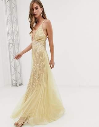 Asos Design DESIGN cami feather embellished maxi dress
