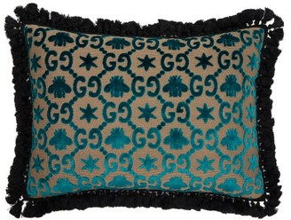 Gucci Gg Jacquard Velvet Cushion - Blue Multi