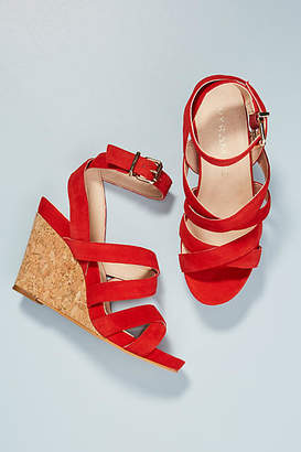 Anthropologie Pyramidis Crossed Strap Wedge Sandals