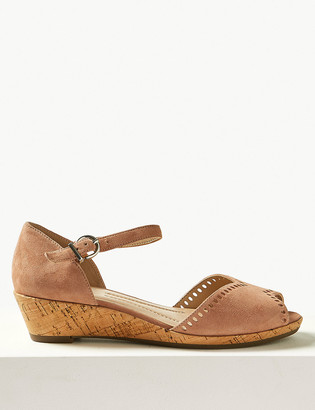 Marks and Spencer Suede Wedge Heel Ankle Strap Sandals