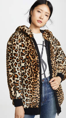 Moschino Leopard Print Hooded Jacket