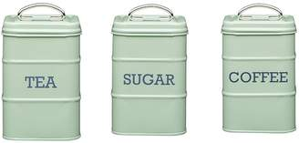 Living Nostalgia Tea, Coffee and Sugar Storage Tins in English Sage Green