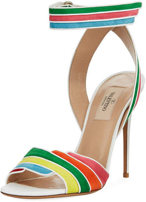 Valentino Rainbow Ankle-Wrap High Sandals, Multi