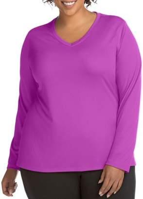 Hanes Women's Plus Active Long Sleeve Cool Dri V-Neck Tee