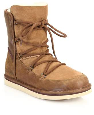 UGG Women's Lodge Shearling-Lined Leather & Suede Lace-Up Boots