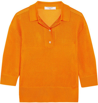 Lanvin - Waffle-knit Polo Shirt - Orange $1,550 thestylecure.com