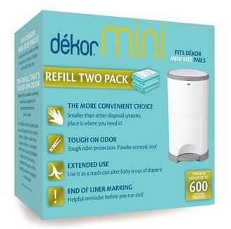 Dekor Diaper Disposal Bin Refill Bag Mini 2-Pack