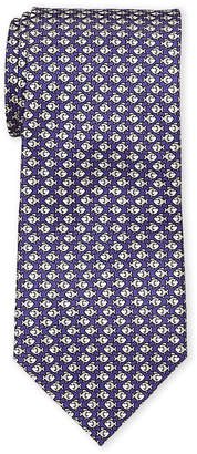 Battistoni Purple Swimming Fish Silk Tie