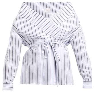 Stella Jean - Tie Waist Striped Cotton Wrap Top - Womens - Blue Stripe