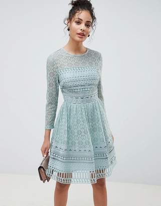 Asos DESIGN Premium Lace Mini Skater dress with long sleeves