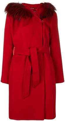 Max Mara hooded concealed fastening coat