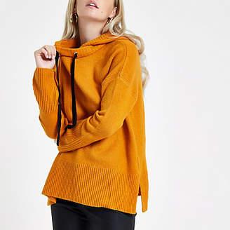 River Island Womens Petite Orange knitted hoodie