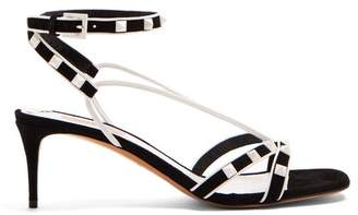 Valentino Free Rockstud Suede Sandals - Womens - Black White