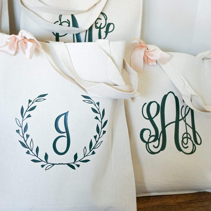 Etsy Traditional Wedding Gift Bag for Bridesmaids Canvas Reusable Tote Bag Classic Design Single Initial