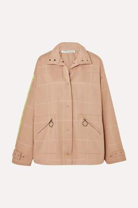 Off-White Checked Twill Jacket - Beige
