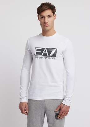 5f6b262ba Emporio Armani Ea7 Stretch Cotton Train Visibility T-Shirt With Long Sleeves  And Logo