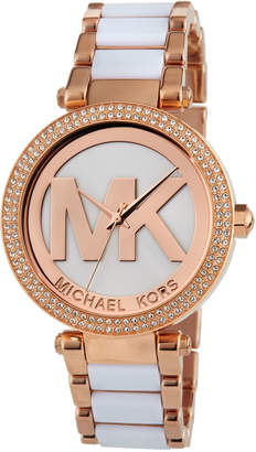 MICHAEL Michael Kors 39mm Parker Glitz Bracelet Watch, Rose Golden/White